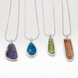 Rough cut gemstone necklaces