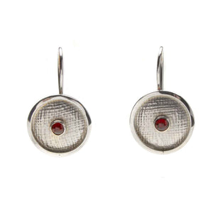 Linen Textured Garnet Earrings