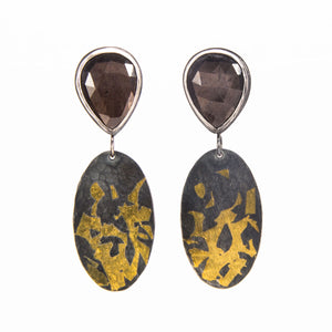 Chocolate Sapphire Earrings with Gold Keum-Boo sterling silver