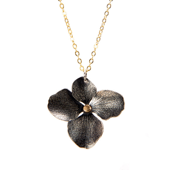 Hydrangea Necklace sterling silver 14k gold