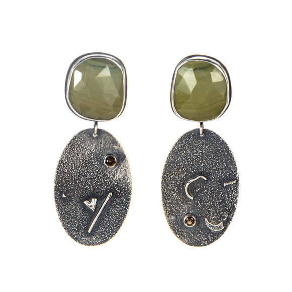 Green Banded Agate Earrings silver smoky quartz