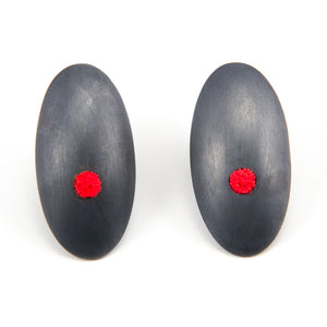 Hollow Puffed Sterling Silver and Red Polymer Clay Earrings