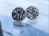 Checkerboard Polymer Clay Inlay Earrings, sterling silver