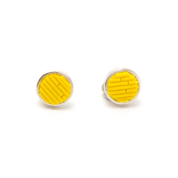 Yellow Polymer Earrings, sterling silver