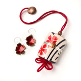 Helen Cowart - Inrō with Manju Netsuke and Earrings yukata jewelry show vintage Japanese cotton