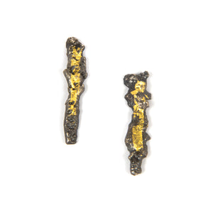 Textured Silver and Gold Earrings