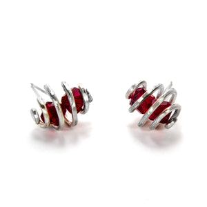 Spiral Earrings with Red Swarovski Glass