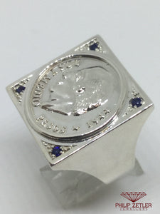 Big Square Silver Coin Ring