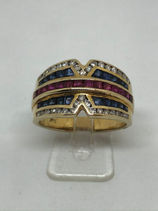 14ct Diamond Sapphire & Ruby Multicolour Dress Ring