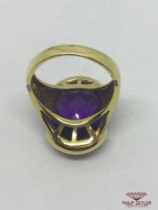 18ct Yellow Gold  Faceted Amethyst Ring