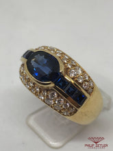 Load image into Gallery viewer, 18ct Yellow Gold Sapphire &  Diamond Pave  Ring