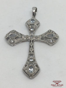 9ct White Gold Diamond And Topaz Cross Pendant