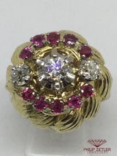 Load image into Gallery viewer, 18ct Diamond & Ruby Antique Dress Ring