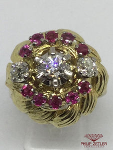 18ct Diamond & Ruby Antique Dress Ring
