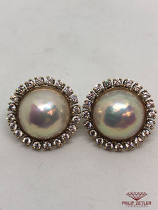 18ct Mabe Pearl & Diamond Earrings