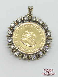 1 Rand Kruger Coin Diamond Pendant