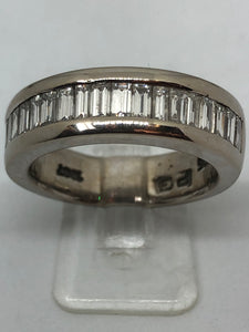 18 ct White Gold Buguette Diamond Eternity Ring