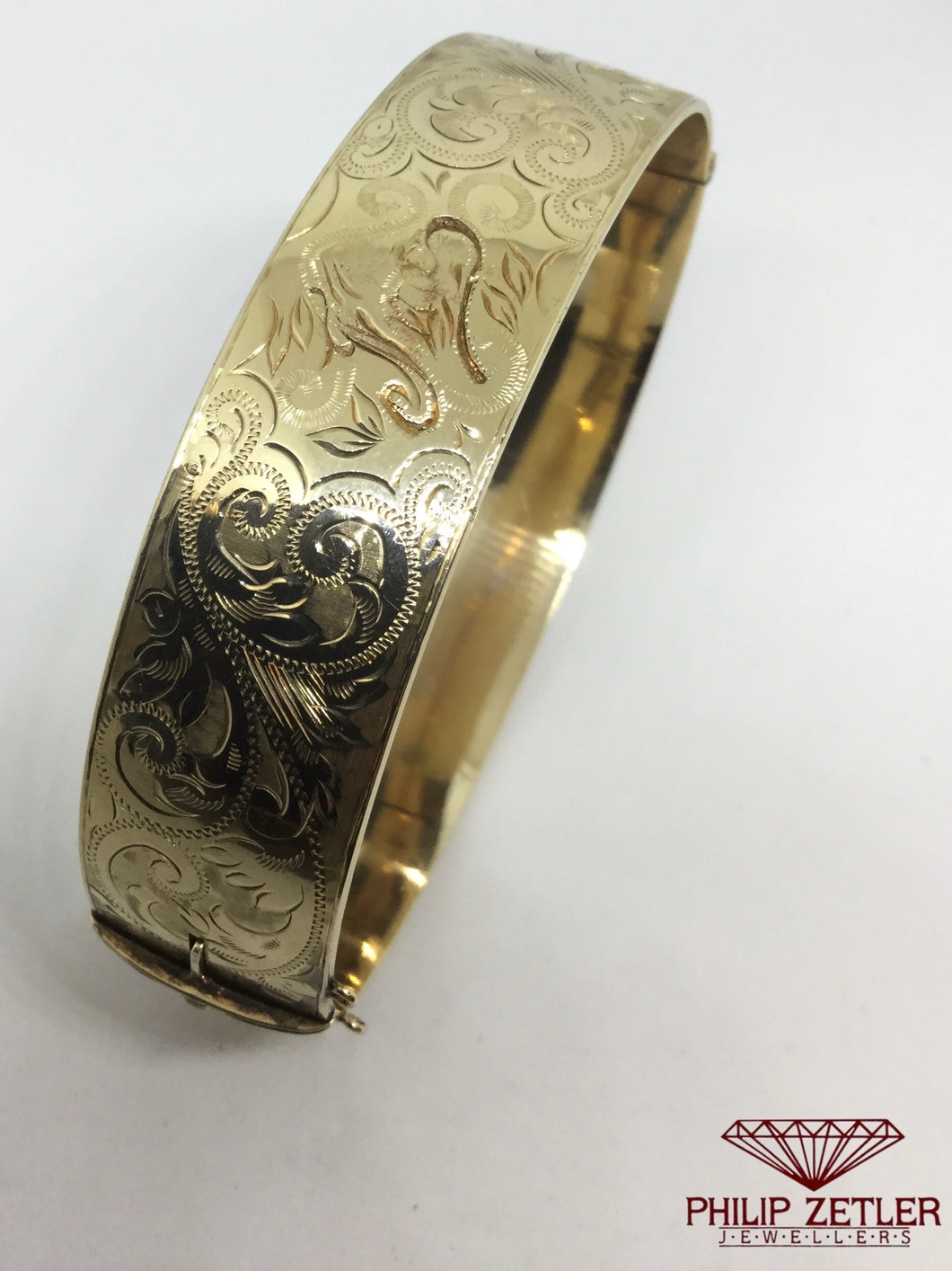 Engraved Gold Bangle