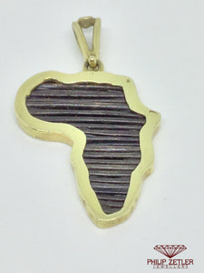 14ct Map of Africa Elephant Hair Pendant