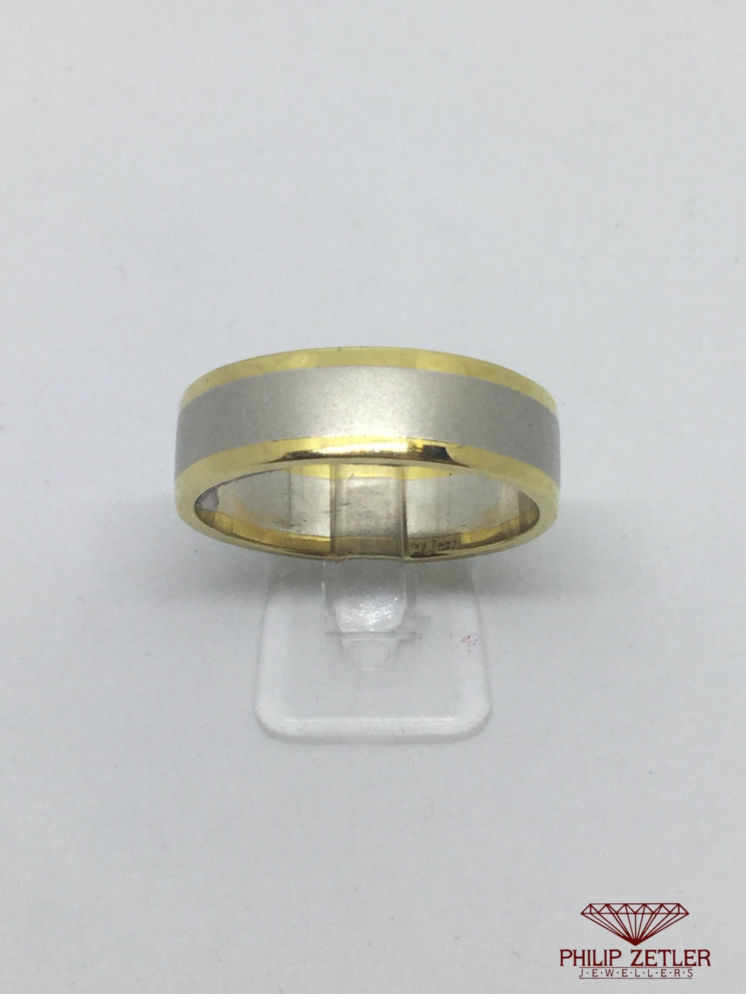 Platinum and 18ct Yellow Gold Half Round Wedding Ring