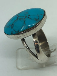Silver Oval Turquoise Dress Ring