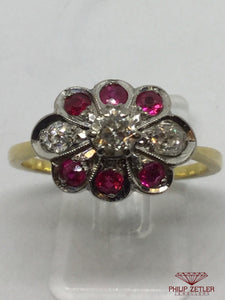 18ct Diamond & Ruby Flower Dress Ring