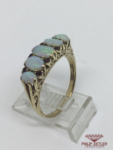 9ct Antique 5 Opal  Dress Ring