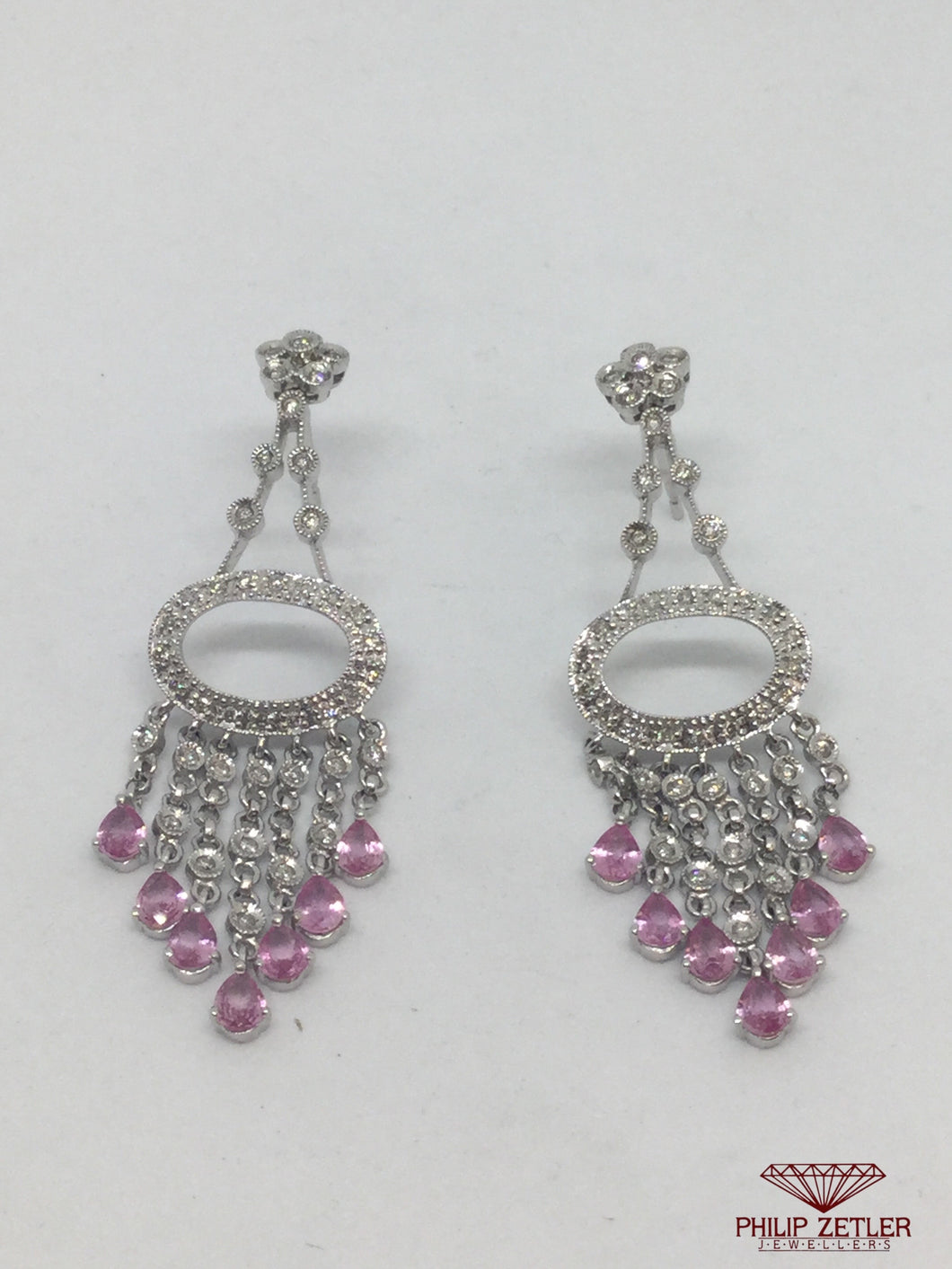 18ct White Gold Diamond & Pink Sapphire Earings