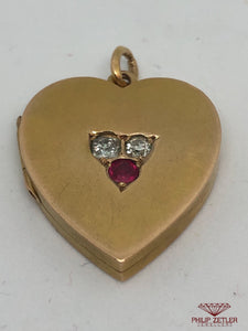 15ct Gold Diamond & Ruby Heart Pendant