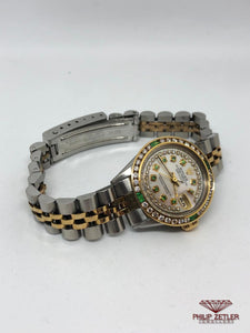 Rolex Ladies Datejust Diamond And Emerald Bezel Mother Of Pearl  Dial
