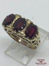 Load image into Gallery viewer, 9ct 3 Garnet Dress Ring