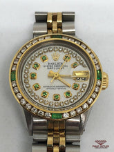 Load image into Gallery viewer, Rolex Ladies Datejust Diamond And Emerald Bezel Mother Of Pearl  Dial