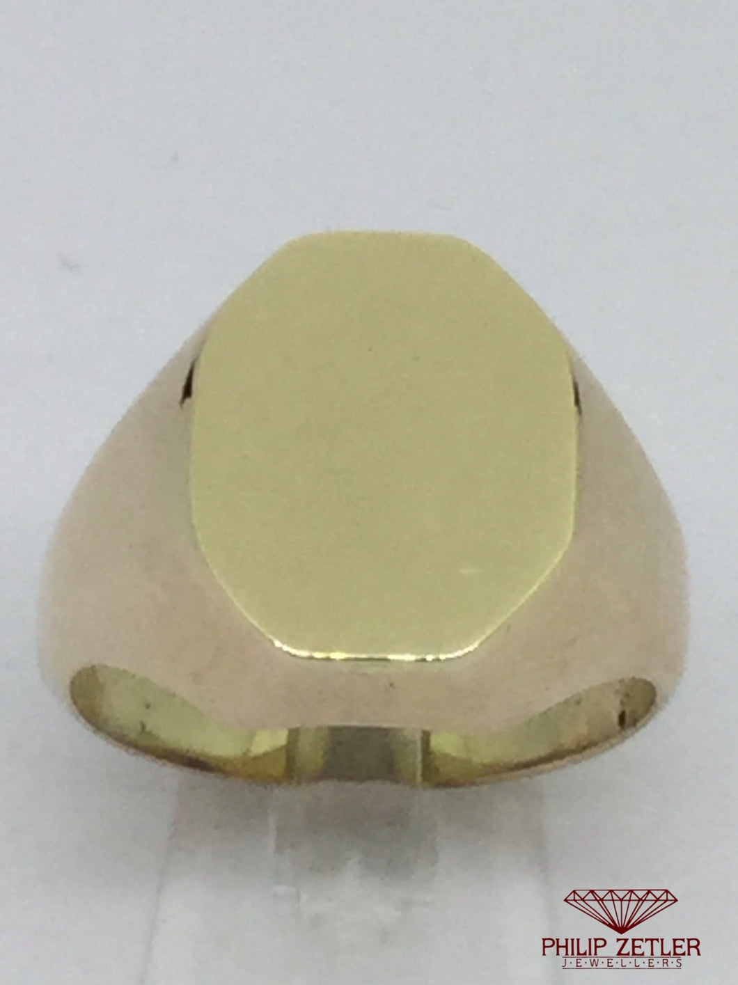 14ct Mens Hexagonal Oval Signet Ring