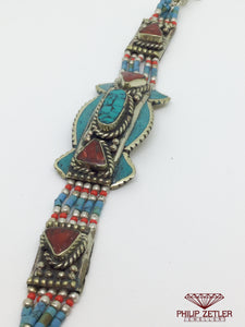 Silver Turquoise Bracelet with Multicolor Stones
