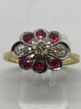 Load image into Gallery viewer, 18ct Diamond & Ruby Flower Dress Ring