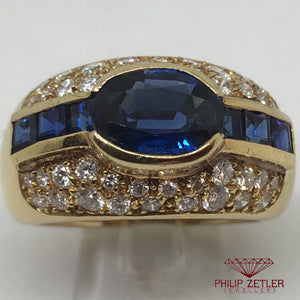 18ct Yellow Gold Sapphire &  Diamond Pave  Ring