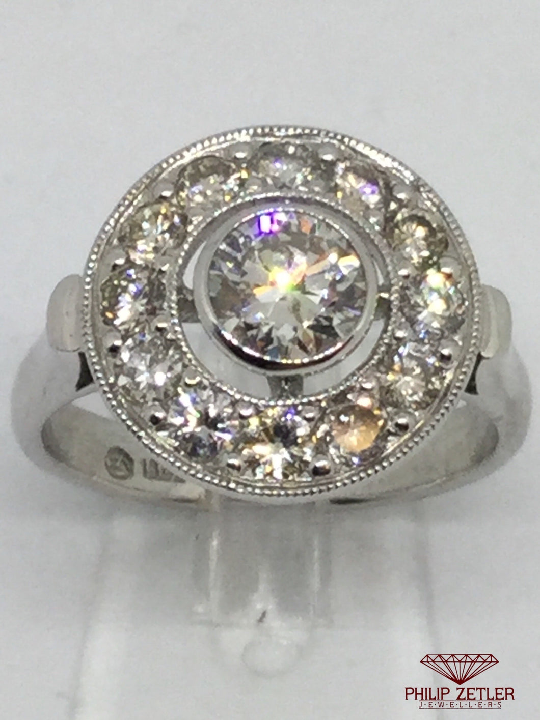 18ct White Gold  Diamond Cluster Halo Ring