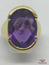 Load image into Gallery viewer, 18ct Yellow Gold  Faceted Amethyst Ring