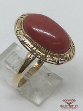 Load image into Gallery viewer, 14ct Oval Coral Dress  Ring