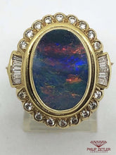 Load image into Gallery viewer, 18ct Rainbow Opal, Gold and Diamond Ring