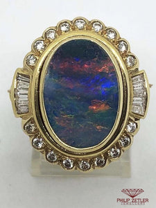 18ct Rainbow Opal, Gold and Diamond Ring