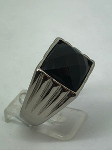 Stainless Steel Black Stone Domed Ring