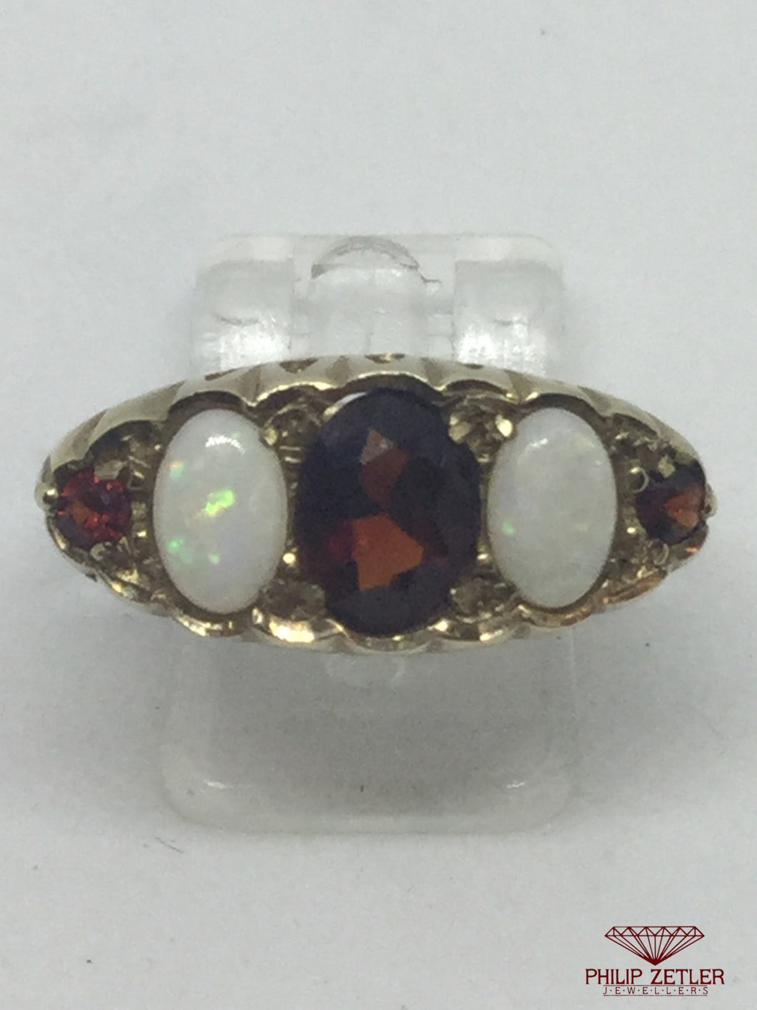 9ct Garnet & Opal Antique Dress Ring
