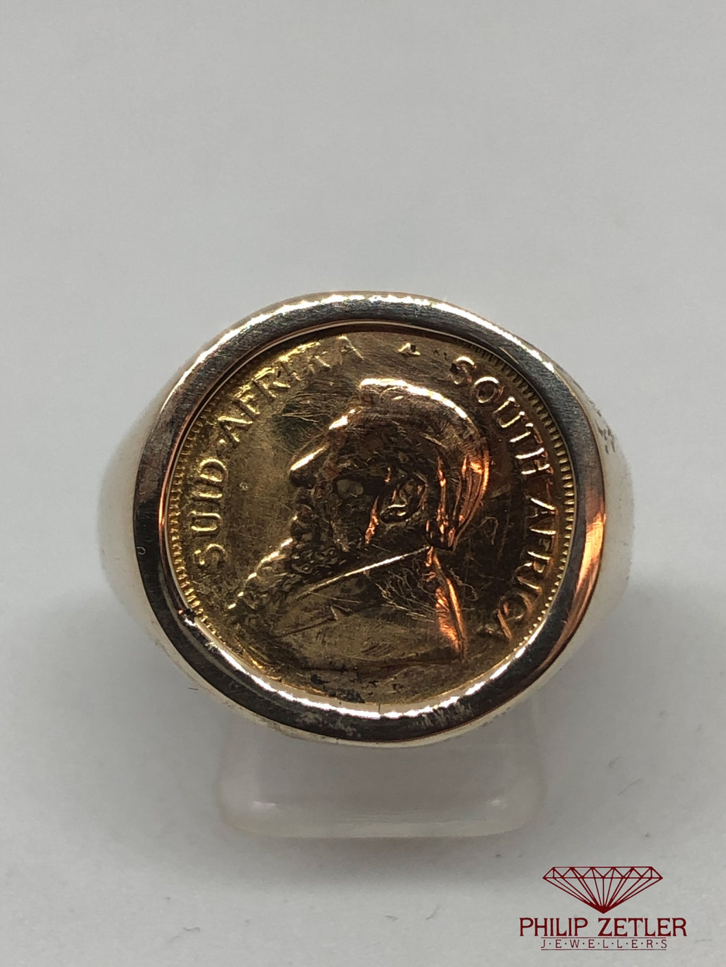 9ct Gents Gold 1/10 Kruger Coin Ring