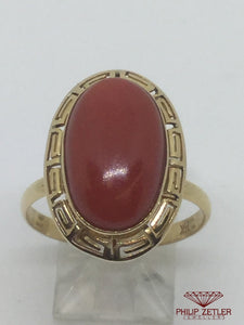 14ct Oval Coral Dress  Ring