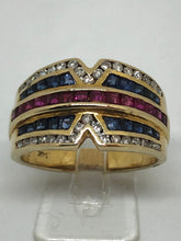 Load image into Gallery viewer, 14ct Diamond Sapphire & Ruby Multicolour Dress Ring