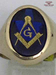 9ct Gold Oval Mans Masonic Dress Ring