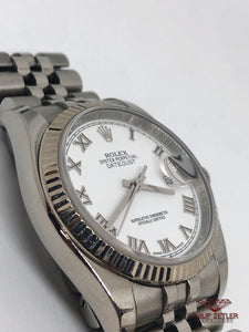 Rolex Datejust 18kt White Gold bezel & steel strap