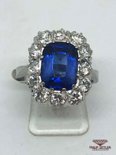 Load image into Gallery viewer, 18ct White Gold Diamond Rectangular Cut Tanzanite Ring