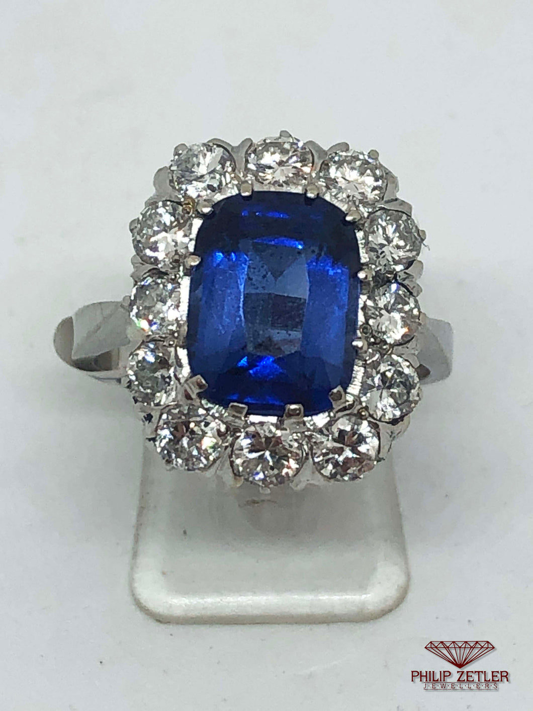 18ct White Gold Diamond Rectangular Cut Tanzanite Ring
